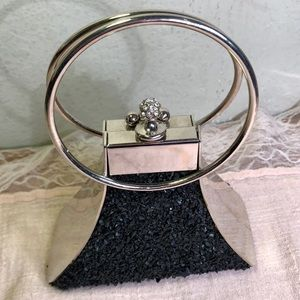 Handbags - Vintage Rock Chip Textured Silver Framed Clutch